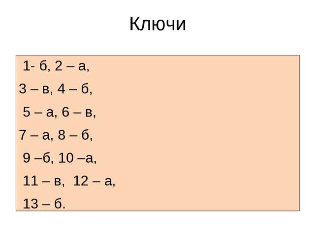 Ключи 1- б, 2 – а, 3 – в, 4 – б, 5 – а, 6 – в, 7 – а, 8 – б, 9 –б, 10 –а, 11...