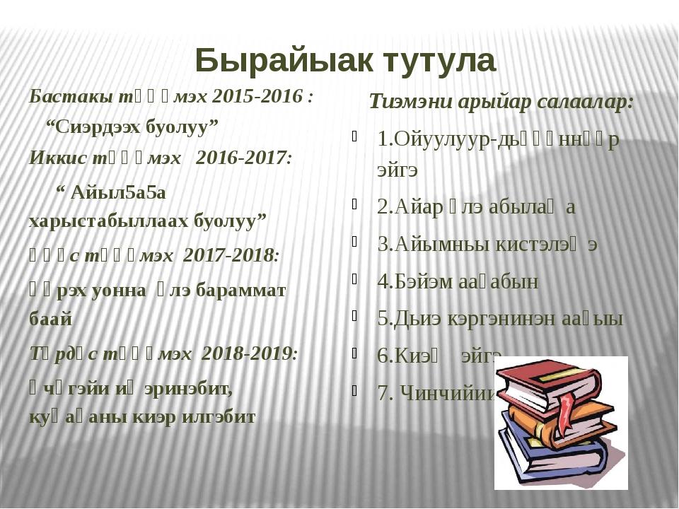 """Бырайыак тутула Бастакы түһүмэх 2015-2016 : """"Сиэрдээх буолуу"""" Иккис түһүмэх 2..."""