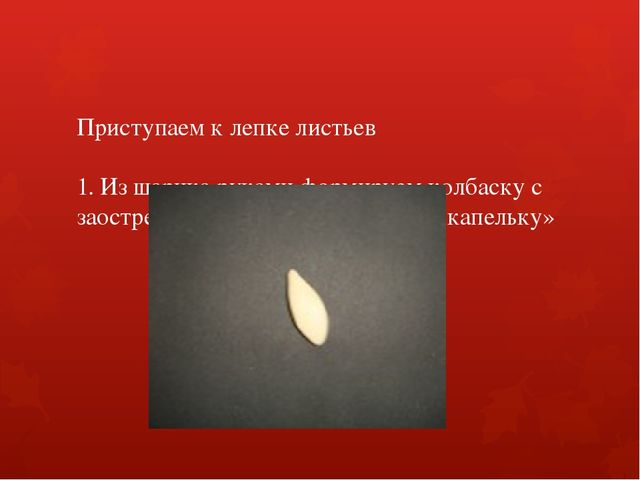 Приступаем к лепке листьев 1. Из шарика руками формируем колбаску с заострен...