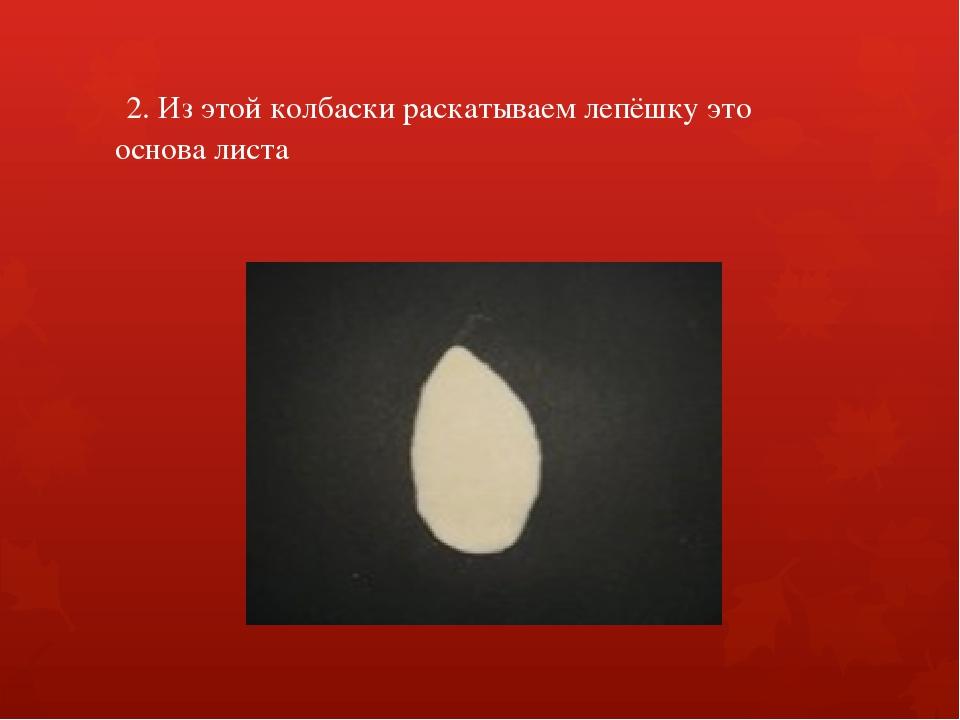 2. Из этой колбаски раскатываем лепёшку это основа листа