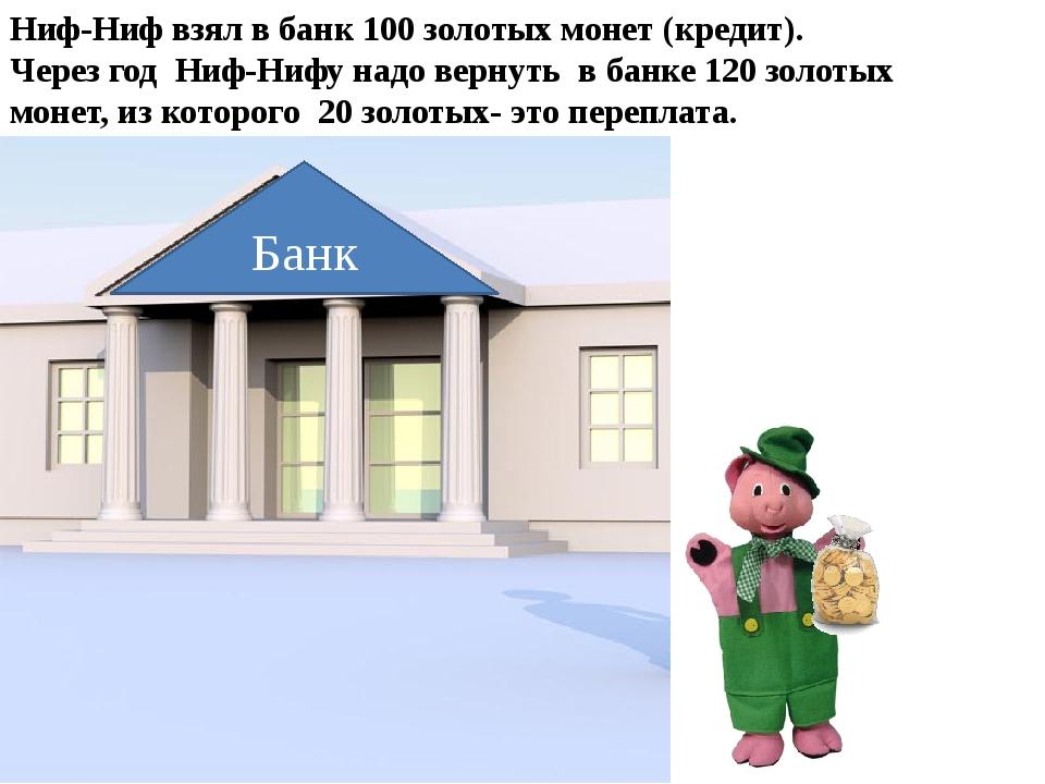 Банк Ниф-Ниф взял в банк 100 золотых монет (кредит). Через год Ниф-Нифу надо...