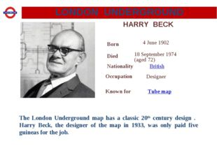 HARRY BECK The London Underground map has a classic 20th century design . Har