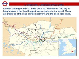 LONDON UNDERGROUND London Underground's 11 lines (total 402 kilometres (250