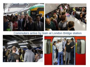 Commuters arrive by train at London Bridge station