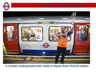 A London underground train ready to depart from Victoria station. LONDON UNDE