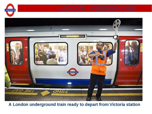A London underground train ready to depart from Victoria station. LONDON UNDE...