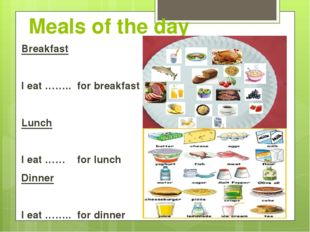 Meals of the day Breakfast I eat …….. for breakfast Lunch I eat …… for lunch