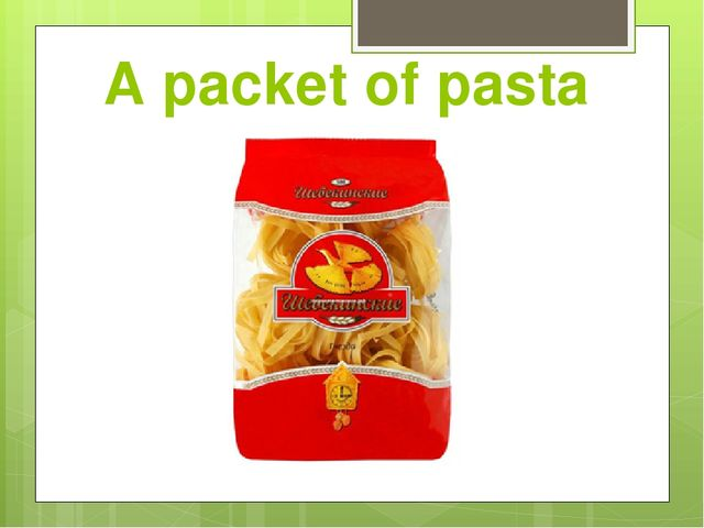 A packet of pasta