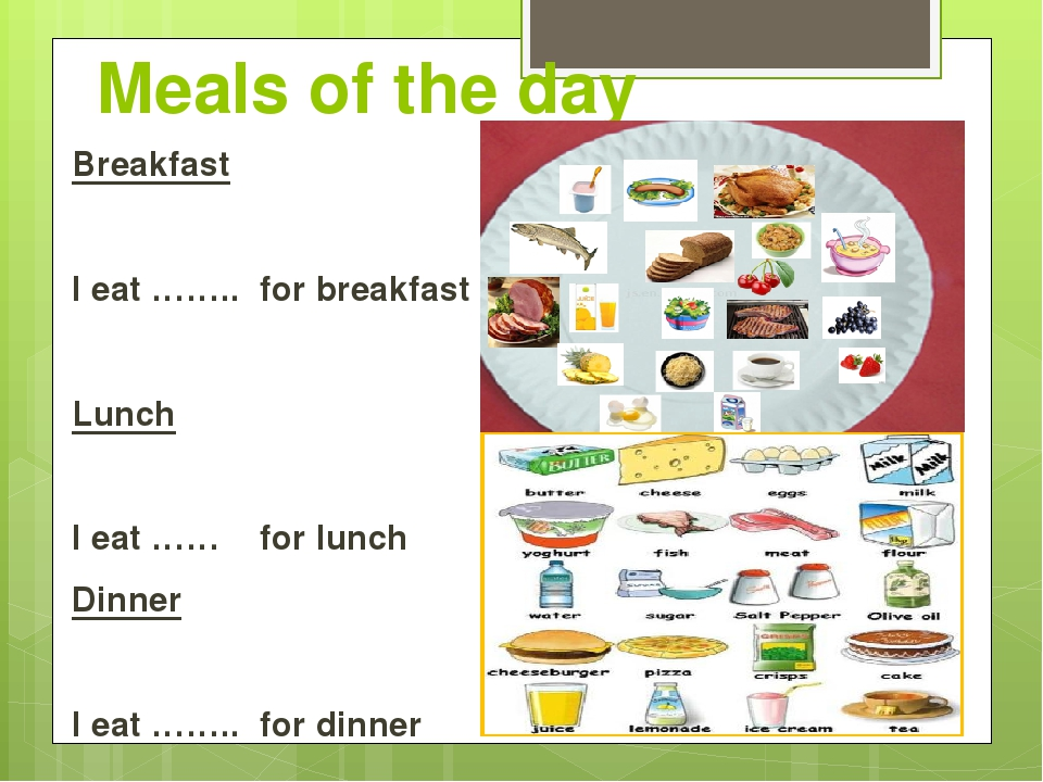 Meals of the day Breakfast I eat …….. for breakfast Lunch I eat …… for lunch...