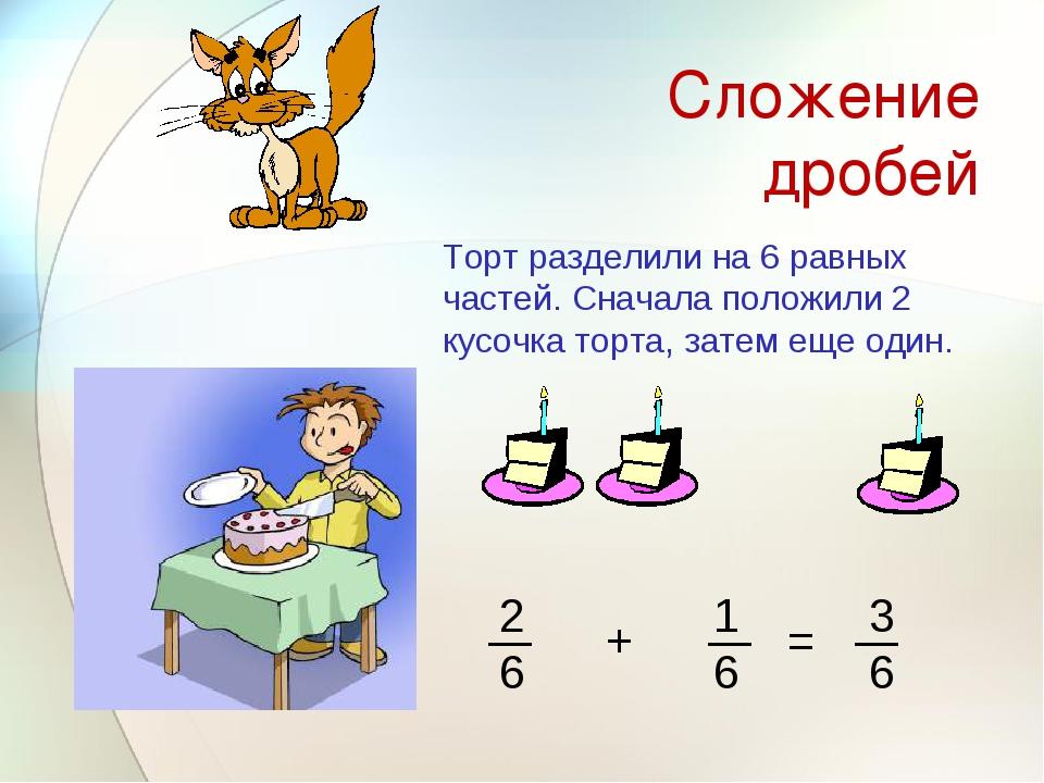 Сложение дробей Торт разделили на 6 равных частей. Сначала положили 2 кусочка...