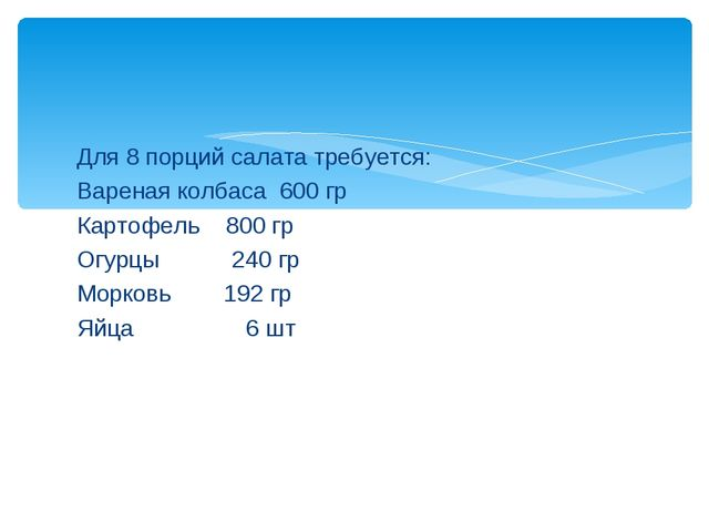 Для 8 порций салата требуется: Вареная колбаса 600 гр Картофель 800 гр Огурцы...