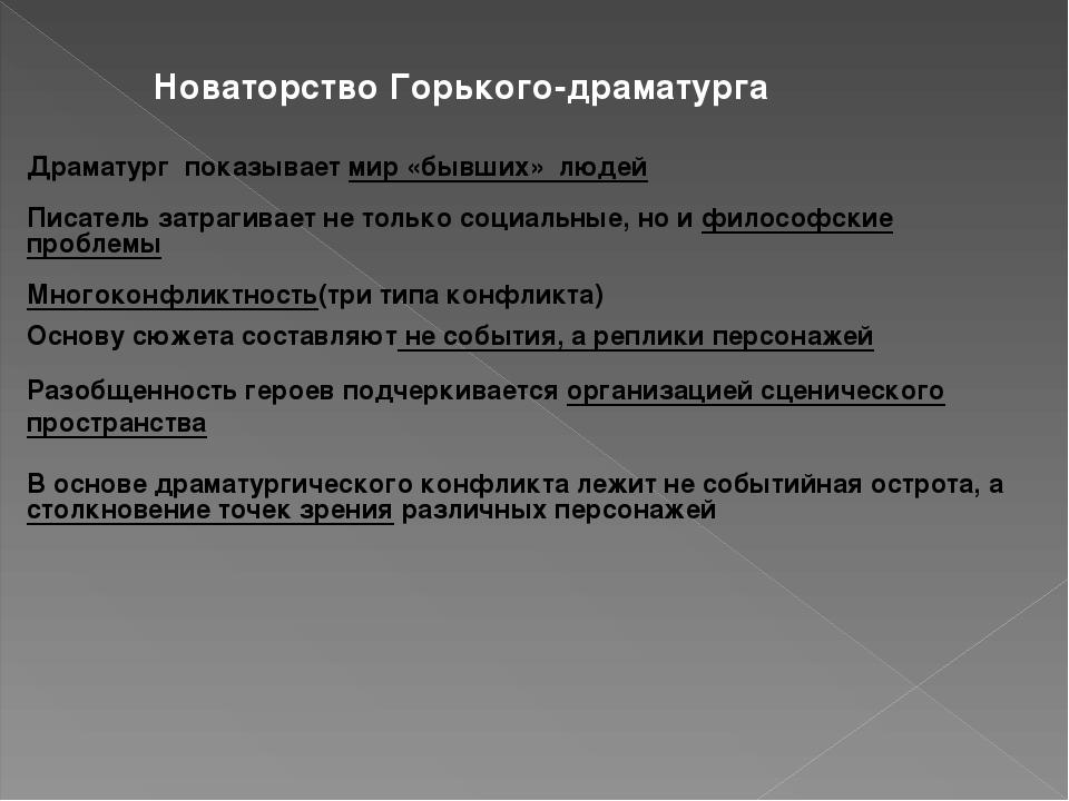 Новаторство Горького-драматурга Драматург показывает мир «бывших» людей Писат...