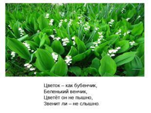 Цветок – как бубенчик, Беленький венчик, Цветёт он не пышно, Звенит ли – не с