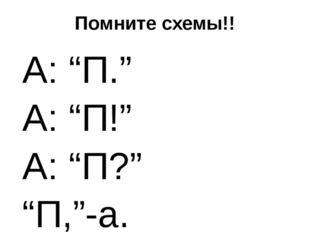 """Помните схемы!! А: """"П."""" А: """"П!"""" А: """"П?"""" """"П,""""-а. """"П!""""-а. """"П!""""-а."""