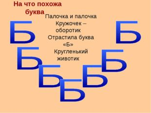 На что похожа буква Палочка и палочка Кружочек – оборотик Отрастила буква «Б»