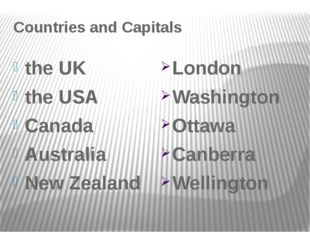 Countries and Capitals the UK the USA Canada Australia New Zealand London Was