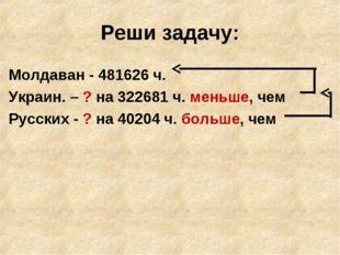 Реши задачу: Молдаван - 481626 ч. Украин. – ? на 322681 ч. меньше, чем Русски