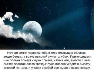 Ночная синяя чернота неба в тихо плывущих облаках, везде белых, а возле высо