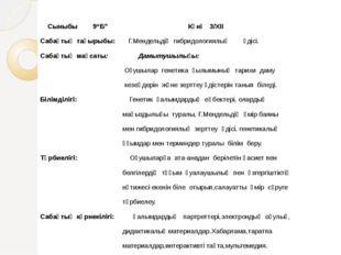 """Сыныбы 9""""Б"""" Күні 3/XII Сабақтың тақырыбы: Г.Мендельдің гибридологиялық әдісі"""