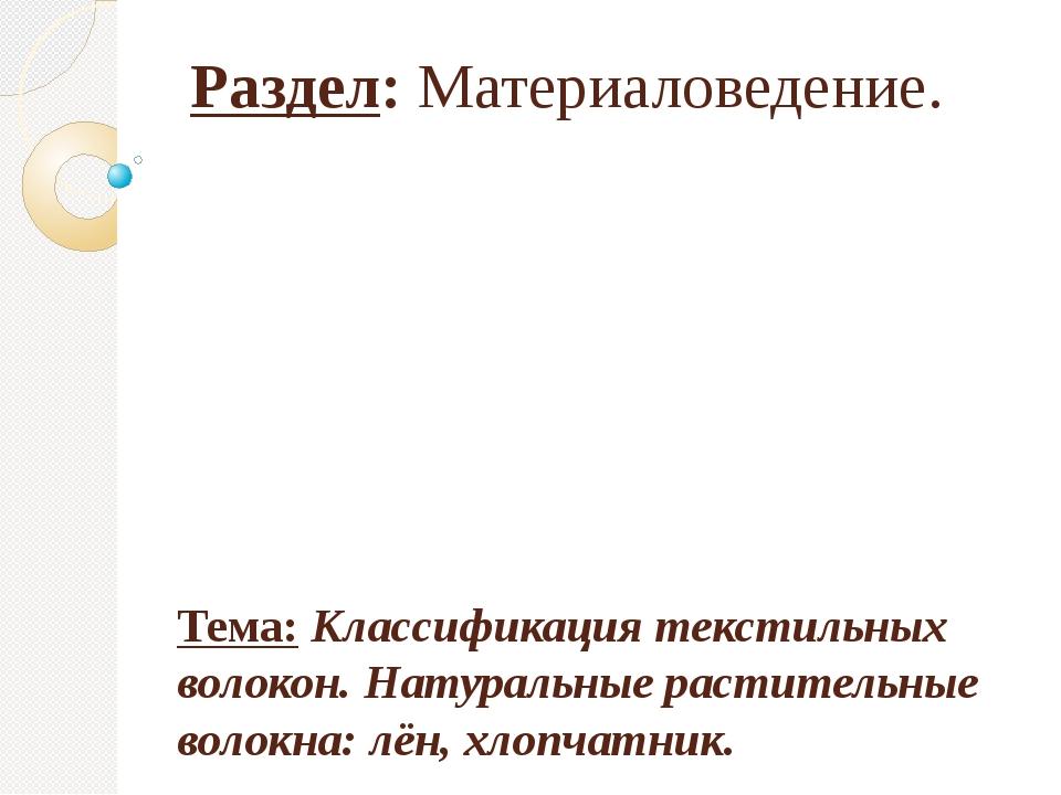 Раздел: Материаловедение. Тема: Классификация текстильных волокон. Натуральны...