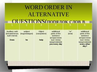 WORD ORDER IN ALTERNATIVE QUESTIONS(порядок слов в альтернативных вопросах) 1