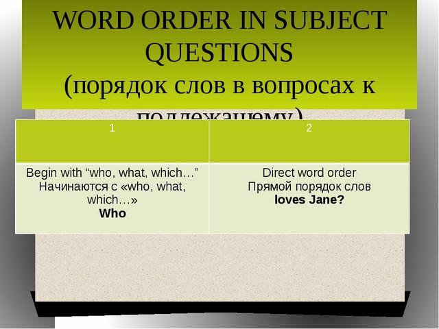 WORD ORDER IN SUBJECT QUESTIONS (порядок слов в вопросах к подлежащему) 1 2 B...