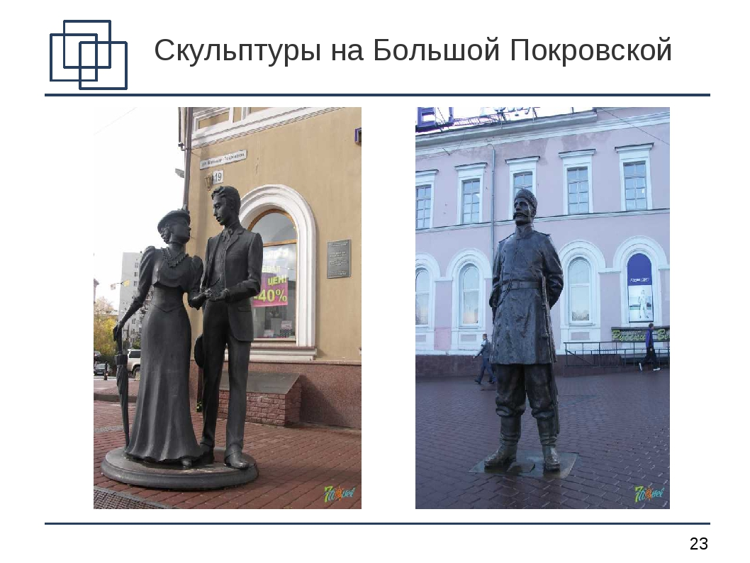 Скульптуры на Большой Покровской *