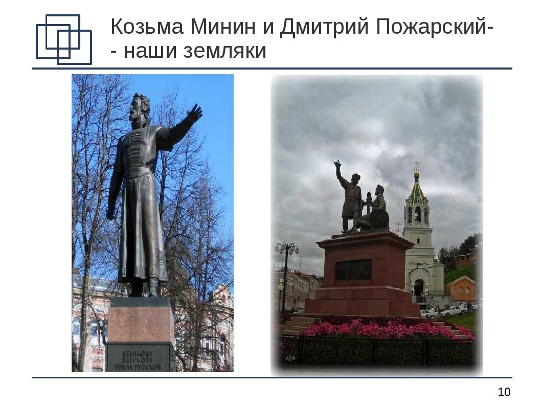 Козьма Минин и Дмитрий Пожарский- - наши земляки *