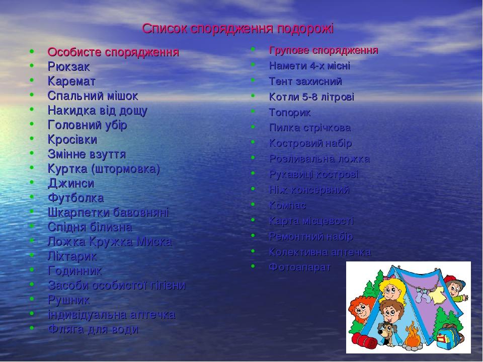 Список спорядження подорожі Особисте спорядження Рюкзак Каремат Спальний мішо...