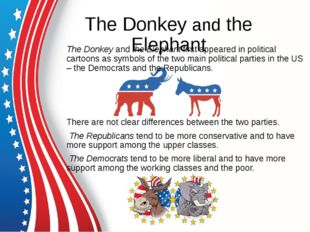 The Donkey and the Elephant The Donkey and the Elephant first appeared in pol