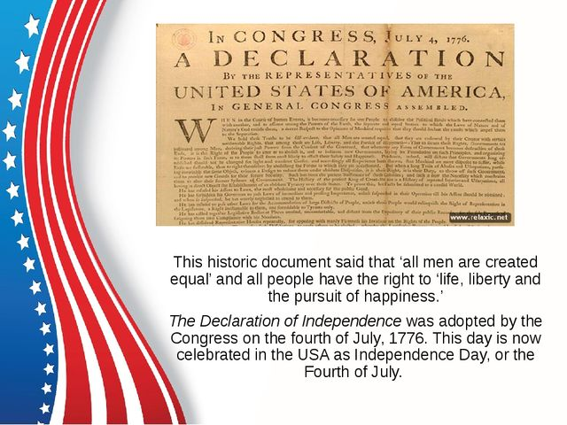 This historic document said that 'all men are created equal' and all people...