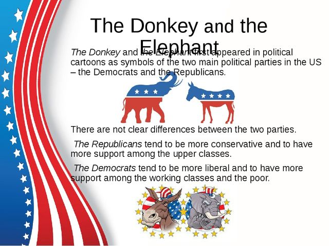 The Donkey and the Elephant The Donkey and the Elephant first appeared in pol...