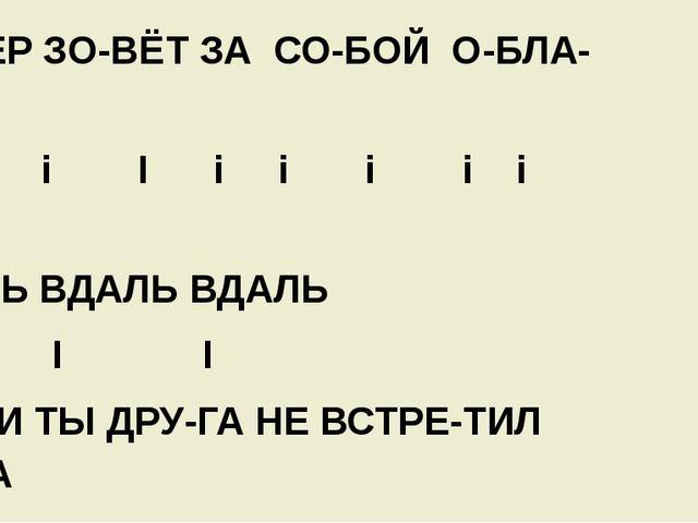ВЕ-ТЕР ЗО-ВЁТ ЗА СО-БОЙ О-БЛА-КА I i i I i i i i i I ВДАЛЬ ВДАЛЬ ВДАЛЬ I I I...