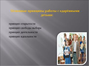 Основные принципы работы с одарёнными детьми: принцип открытости принцип своб