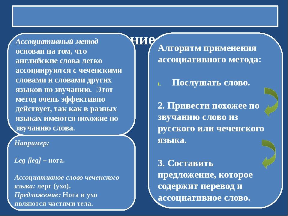 3. Изучение лексики Ассоциативный метод основан на том, что английские слова...