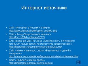 Интернет источники Сайт «Интернет в России и в Мире» http://www.bizhit.ru/ind