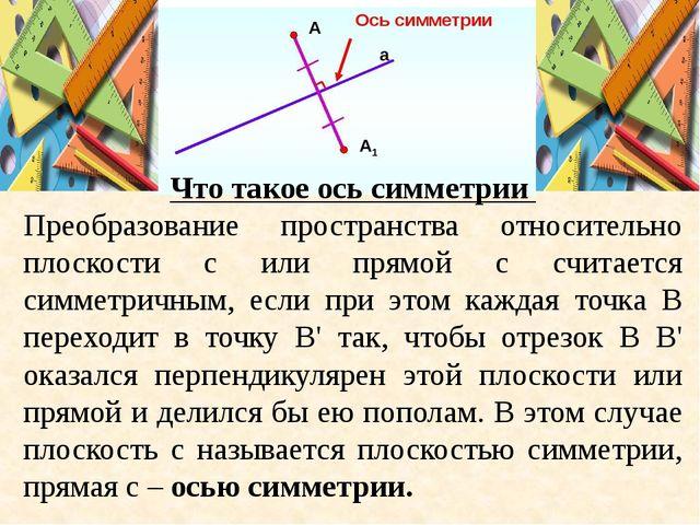 Что такое ось симметрии Преобразование пространства относительно плоскости с...