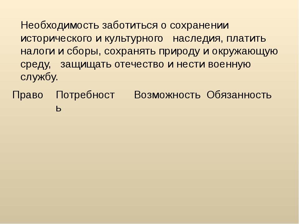 Необходимость заботиться о сохранении исторического и культурного наследия, п...