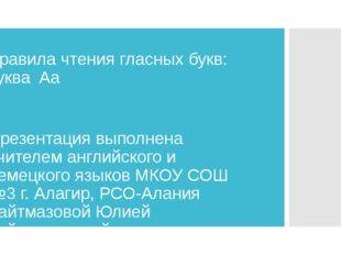 Правила чтения гласных букв: буква Aa Презентация выполнена учителем английск
