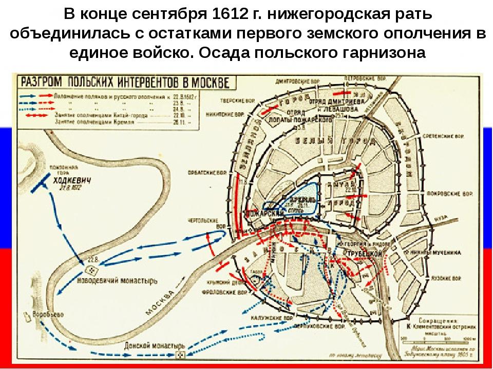 В конце сентября 1612 г. нижегородская рать объединилась с остатками первого...