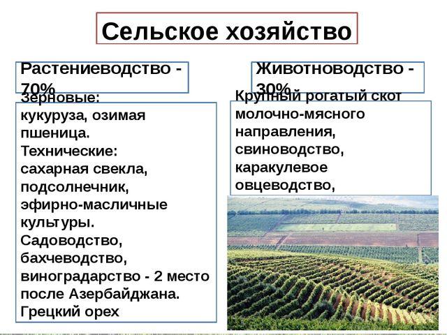 Сельское хозяйство Растениеводство - 70% Животноводство - 30% Зерновые: кукур...