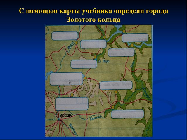 С помощью карты учебника определи города Золотого кольца