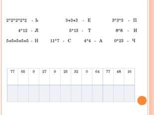 2*2*2*2*2 - Ь 3+3+3 - Е 3*3*3 - П 4*12 - Л 5*13 - Т 8*8 - И 5+5+5+5+5 - Н 11*