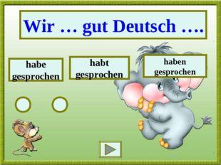 Wir … gut Deutsch …. habe gesprochen habt gesprochen haben gesprochen
