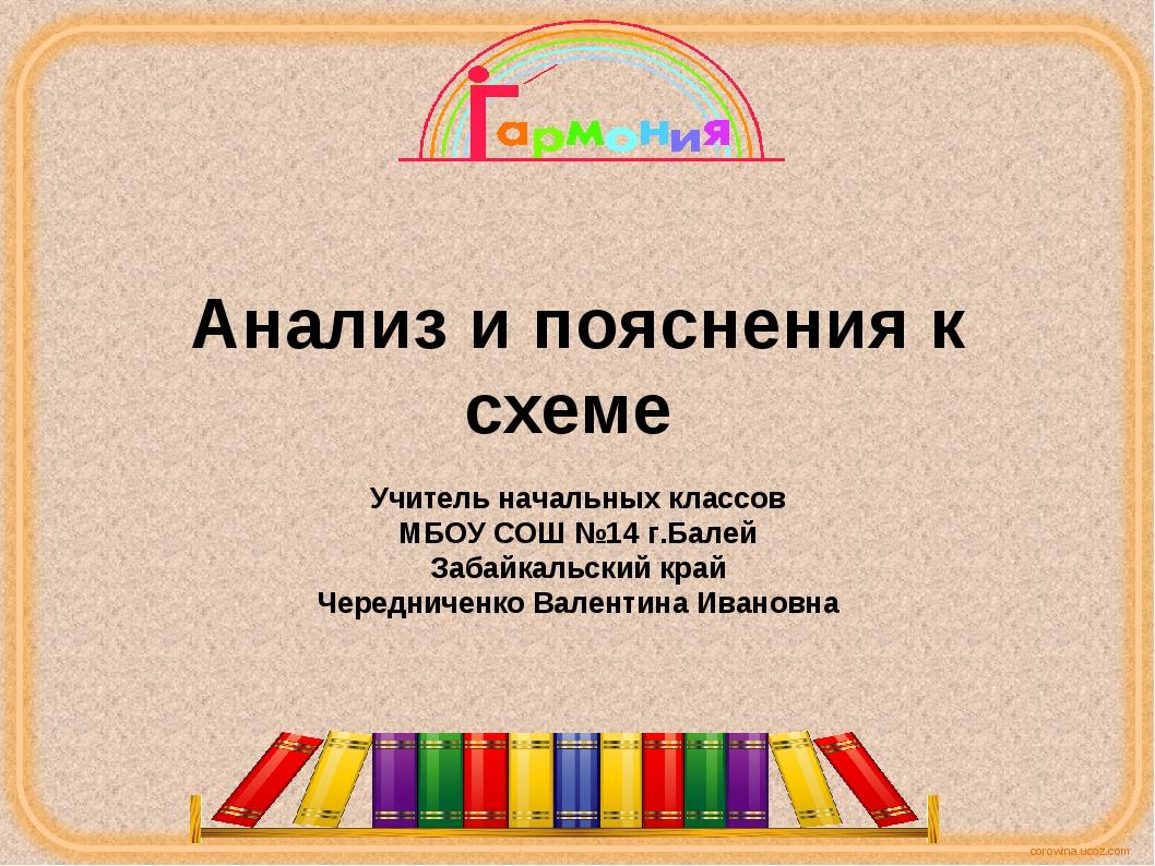 Анализ и пояснения к схеме Учитель начальных классов МБОУ СОШ №14 г.Балей Заб...