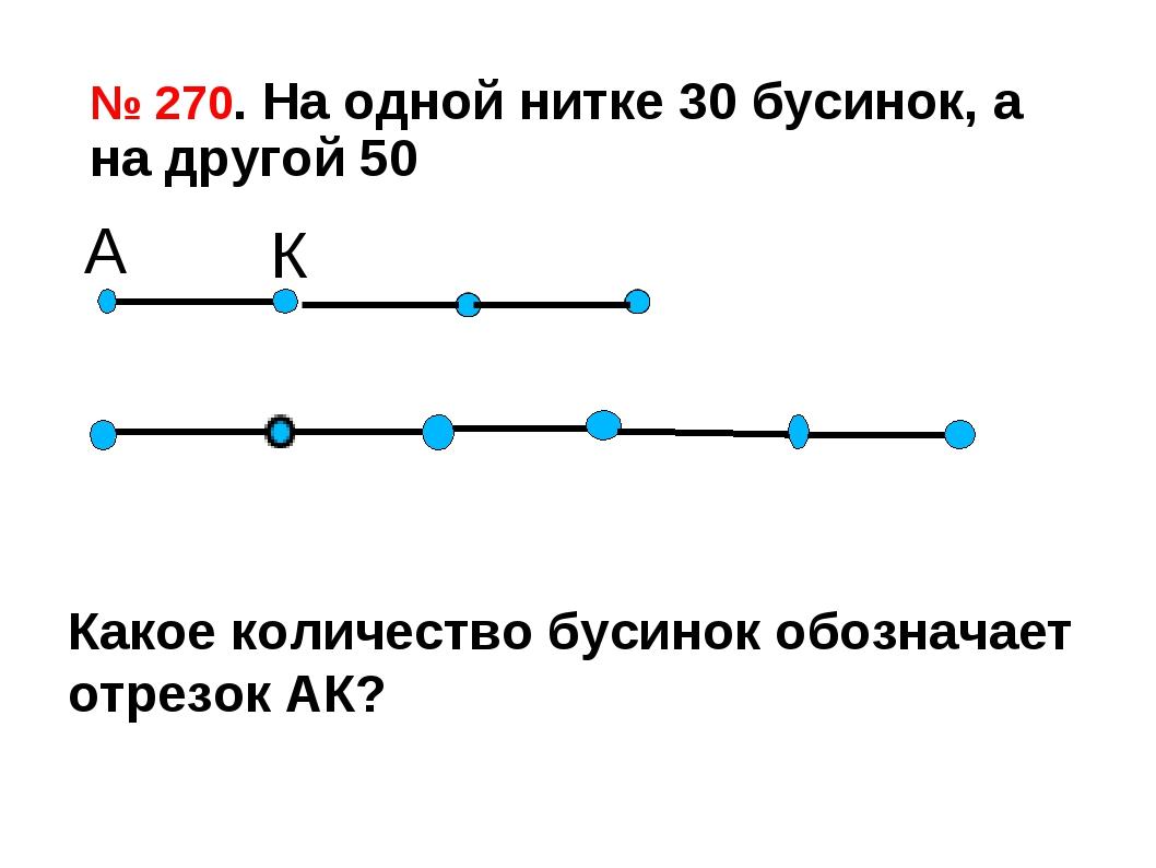 № 270. На одной нитке 30 бусинок, а на другой 50 А К Какое количество бусинок...