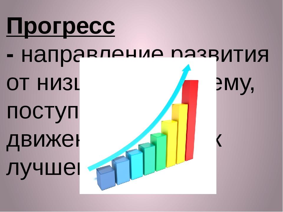 Прогресс -направление развития от низшего к высшему, поступательное движение...