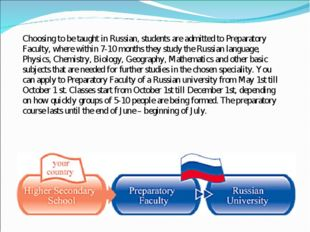 Choosing to be taught in Russian, students are admitted to Preparatory Facult