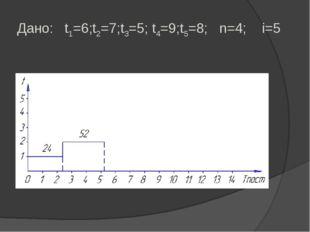 Дано: t1=6;t2=7;t3=5; t4=9;t5=8; n=4; i=5