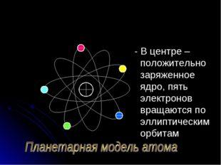 - В центре – положительно заряженное ядро, пять электронов вращаются по элли